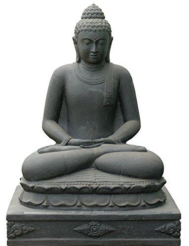 Statuetta di Buddha XXL, grande per il giardino, pietra lavica, grande Buddha seduto, grande scultura in pietra, resistente al gelo