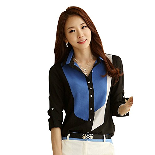 AmyDong Women's Blouse, Leisure Long Sleeve Lapel Single Row Buckle Shirt Casual Sexy Comfort (US M=Asian L, Black A)