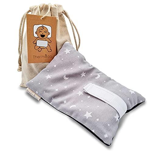 Cinturón Anticólicos Bebé Ajustable - Fajita de Saco Térmico de Semillas Para Aliviar el Dolor de Cólicos. 19x12 cm - Saco Cinturón Cólicos Bebé con Funda Lavable (Thermikoa) (Gris)