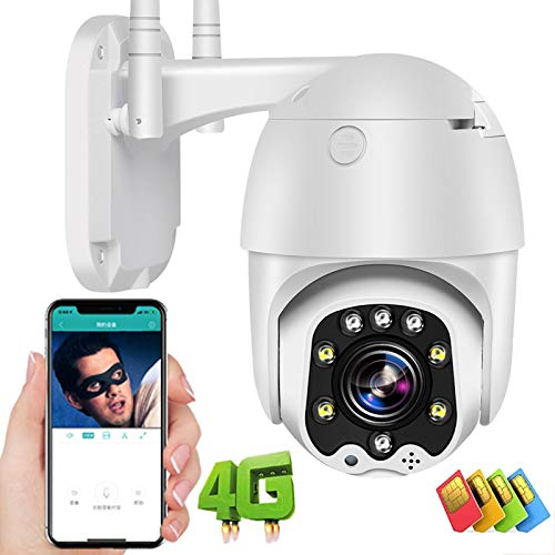 Cámara IP de Vigilancia Exterior 3G/4G SIM High-Definition 1080P Alarma de Detección de Movimiento Pan355°/Tilt90° Cámara PTZ Exterior,Visión Nocturna en Color,Impermeable,Granja/Pastar 【Cámara】
