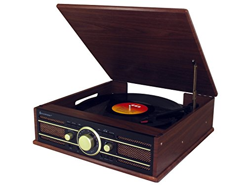 Soundmaster PL550BR Stereo Plattenspieler mit UKW Radio, USB und Encoding