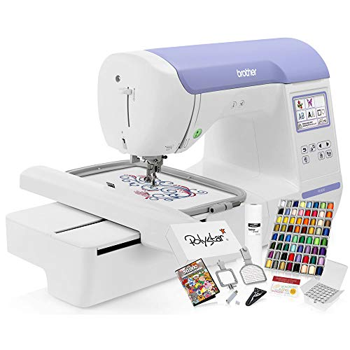 Brother PE800 Embroidery Machine + Grand Slam Package Includes 64 Embroidery Threads + Prewound Bobbins + Cap Hoop + Sock Hoop + Stabilizer + 50,000 Designs + Scissors