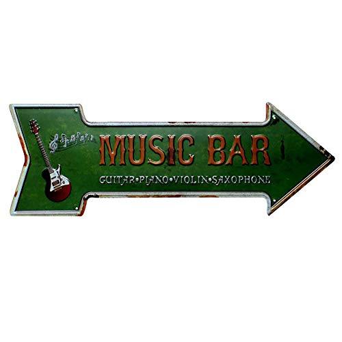 Lumanuby 1x Schäbig Pfeil Werbung für Bar Wandposter Metall mit Wort 'Music Bar' und Gitarre Bild Prägen Stil Plakat für Club Pub Café oder Restaurant, Bar Sprüche Serie Size 45x16cm