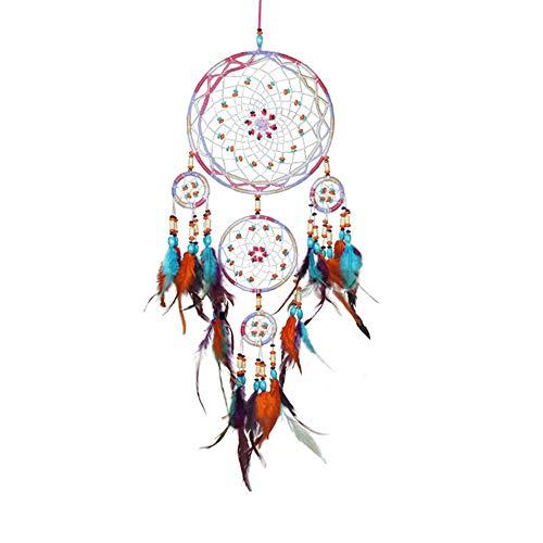 Yishelle Main Circulaire Coloré Dream Catcher Net avec Plumes Perles dans Une Boîte Cadeau pour La Maison Chambre Mur De Voiture Hanging Décoration Ornement Filles Cadeau Style Bohème