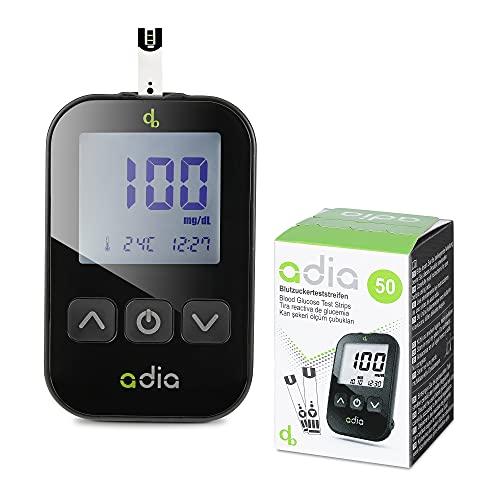 Adia Diabetes-Set, Messeinheit mg, mit 60 Blutzuckerteststreifen, Stechhilfe und 10 Lanzetten zur Blutzuckerkontrolle