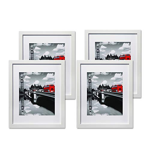 G.F.p.f 11x14 Picture Frames White Set of 4 Solid Wood Photo Frames 8x10 with Mat or 11x14 Without Mat for Wall and Tabletop Horizontally or Vertically - Hardware Included