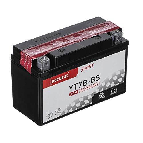 Accurat Motorradbatterie YT7B-BS 7Ah 85A 12V AGM Starterbatterie in Erstausrüsterqualität rüttelfest leistungsstark wartungsfrei
