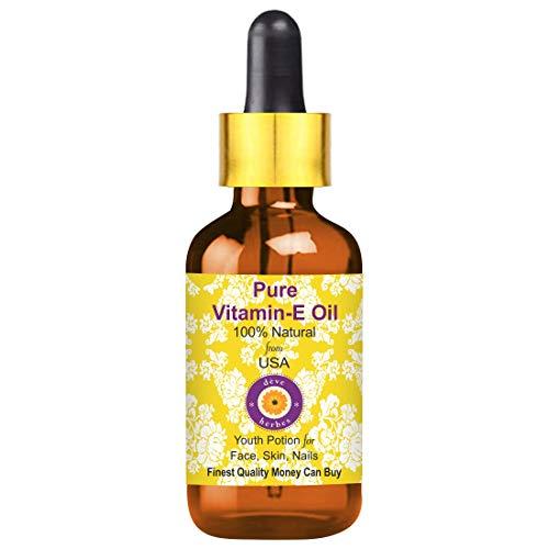 Deve Herbes Pure Vitamin E Oil 10ml with Glass Dropper 100% Natural Therapeutic Grade (0.338oz)