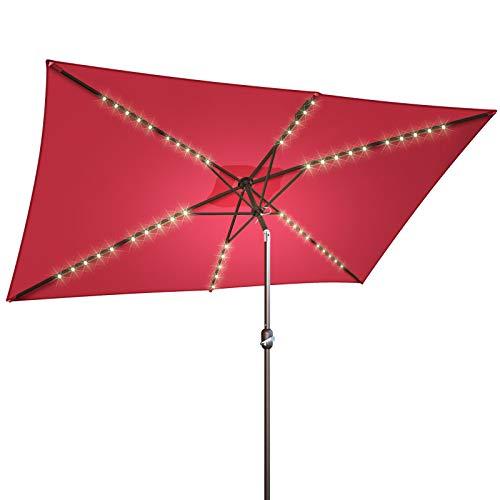 BenefitUSA 10x6.5ft LED Patio Umbrella Solar Power Rectangle Lighted Umbrella, w/Tilt and Crank, Umbrella Base NOT Included (Burgundy)