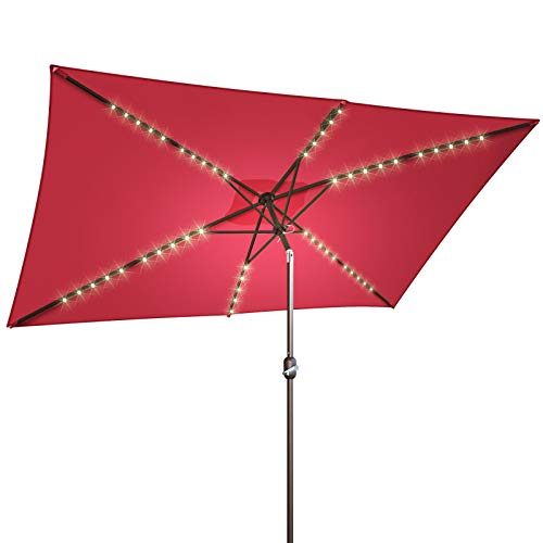 BenefitUSA 10x6.5ft LED Patio Umbrella Solar Power Rectangle Lighted Umbrella, w/Tilt and Crank, Umbrella Base NOT Included (Burgundy)