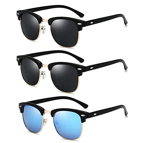LVYY retro glazen 3 paar mannen vrouwen gepolariseerde zonnebril anti-UV zwart + blauw