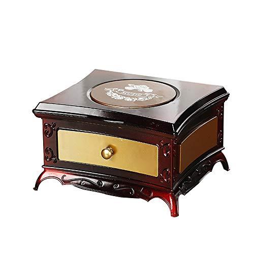 FAGavin Deko Kreative Klassische Schminktisch Rotierende Mädchen Spieluhr Single Layer Schublade Aufbewahrungsbox Mit Kosmetikspiegel Geburtstagsgeschenk Valentinstagsgeschenk (Color : Brown)