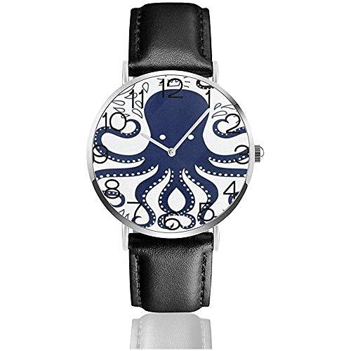 Reloj de Pulsera Reloj Octopus Acuarela clásico Reloj de Cuarzo Casual Relojes para Hombres Mujeres