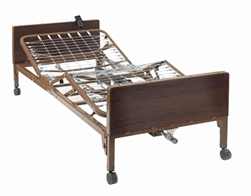 """Semi Electric Hospital Bed with Full Rails Included - for Home Care Use and Medical Facilities - Fully Adjustable, Easy Transport Casters, Remote - 80"""" x 36"""" - No Mattress"""