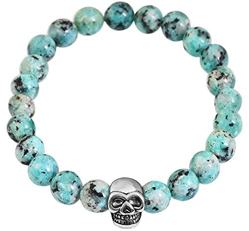 Akzent Pulsera de bolas de piedra natural (jaspe imperial azul) con elemento de acero inoxidable, calavera