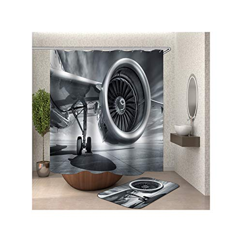 MaxAst Badezimmerteppich Set Bunt Flugzeug Duschvorhang Anti Schimmel Badezimmerteppich Polyester Badewanne Vorhang 180x180CM