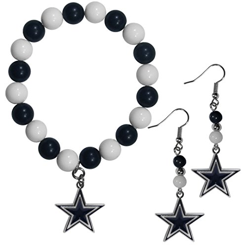 NFL Siskiyou Sports Womens Dallas Cowboys Fan Bead Earrings and Bracelet Set One Size Team Color