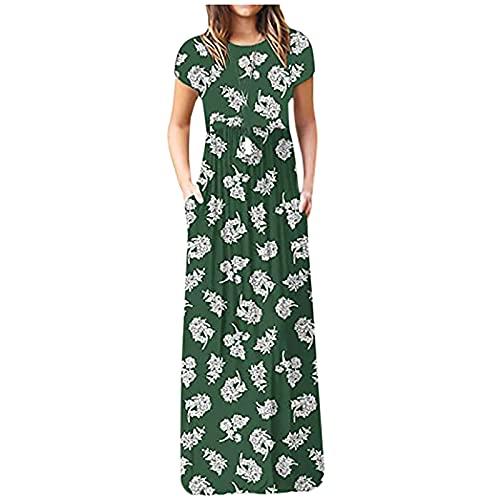 Vestido floral de la correa de espagueti con el bolsillo Vestidos para mujer vestidos formales para invitados de boda verde XXL