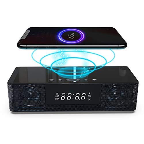 Reloj De Alarma LED Altavoz Bluetooth FM Radio Portátil Audio Inalámbrico Carga De Control Remoto Digital,Negro