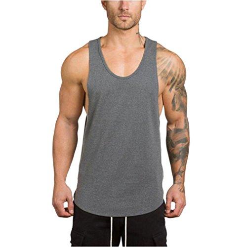 HCFKJ T-Shirt Blusen Herren, Fitnessstudio Bodybuilding Fitness Muskel ärmelloses Unterhemd T-Shirt Top Weste Tank (L2, GY)