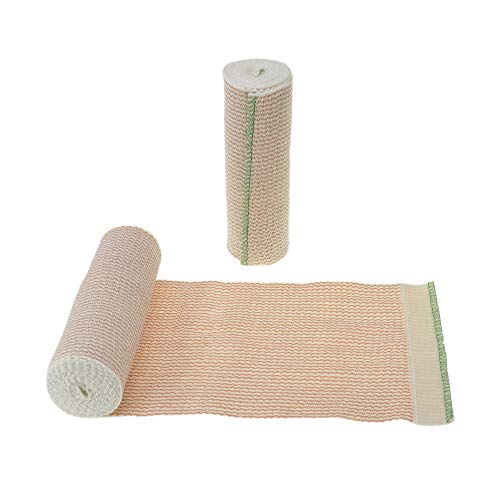 """Dealmed 10 Pack 6"""" Elastic Bandage Wrap with Self-Closure, Comfort Compression Roll, 5 Yards Stretched"""