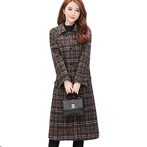 DXIUMZHP damesjas, damesjas, herfst en winter nieuwe vrouwen naaien plaid coat middellange dikke knielange mode dames mantel werkplaats wear