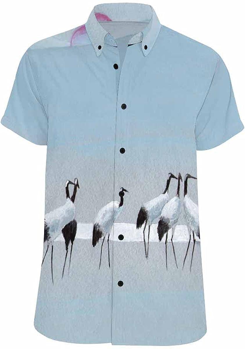 InterestPrint Group of Storks Men's Summer Beach Spread Collar Tops Hawaiian Casual Shirt