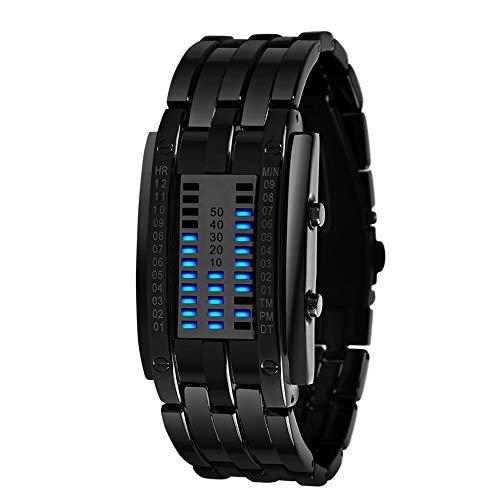 Reloj Digital,Relojes LED para Hombre Relojes binarios LED Digitales a Prueba de Agua Relojes Militares de Acero Inoxidable (Small Black)