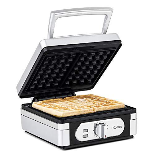 H.Koenig GFX320 Elektrische wafelijzer met 2 wafels, wafelijzer 15 x 10 cm, gelijkmatig bakken, instelbare temperatuur, wafelmaker, afneembare anti-aanbaklaag, gemakkelijk te reinigen en op te bergen