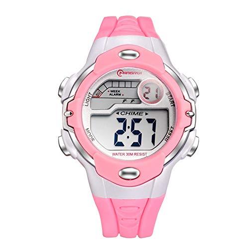 Relógio eletrônico infantil Szkn para esportes ao ar livre, à prova d'água, relógio eletrônico, rosa