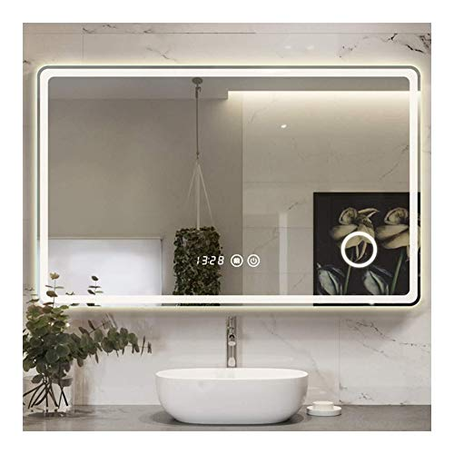 Badkamerspiegel Moderne Rechthoekige Wandmontage Met LED-verlichting Verstelbare Aanraakschakelaar Make-upspiegel (Size : 75cm*120cm(29.5in*47.2in))