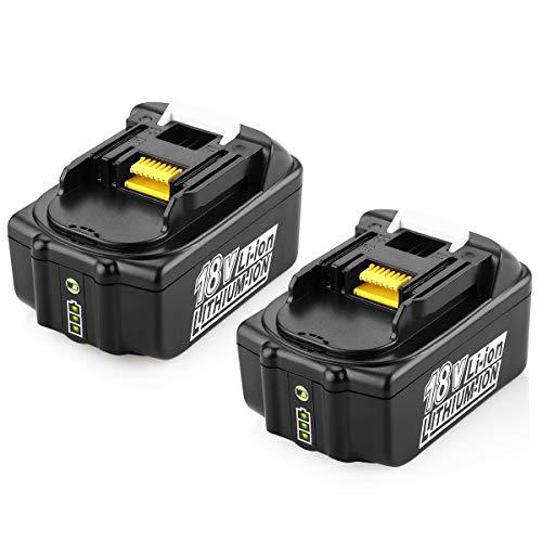 Energup 2pcs 5.5Ah 18V baterías de repuesto de iones de litio para Makita BL1850 BL1860B BL1860 BL1850B BL1840B BL1840 BL1830B 194205-3 194309-1 194204-5 196399-0 Makita baterías de herramientas