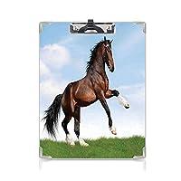 カスタム クリップボード クリップファイル 動物の装飾 事務用品の文房具 (2個)自然の名誉の概念青緑茶色の草のエネルギッシュな高貴なキャラクターにベイ馬