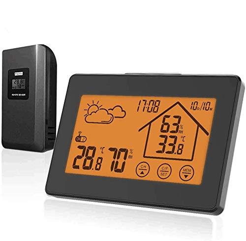 BALDR Estación meteorológica inalámbrica con sensor exterior, termómetro digital e higrómetro para interior y exterior (negro 317)