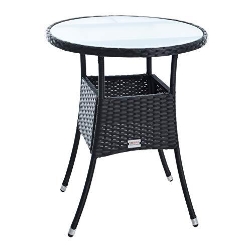 IHD Polyrattan Beistelltisch Gartentisch Rattan Tisch Balkontisch Gartenmöbel Rund Kaffeetisch Teetisch Couchtisch Rattantisch (Schwarz)