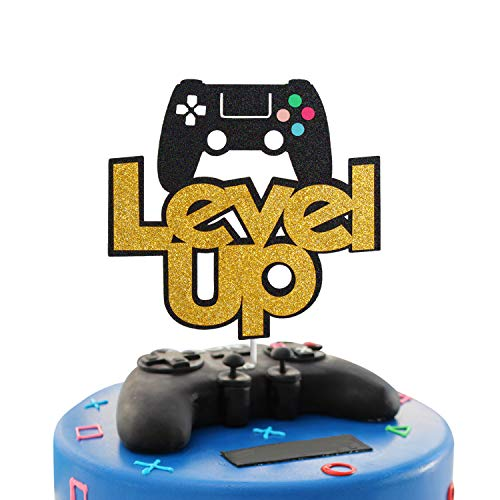 Glitter Level Up Video Game Controller Cake Topper Glitter Gaming Themed Cake Topper, Game Party Gamer Birthday Party Favors