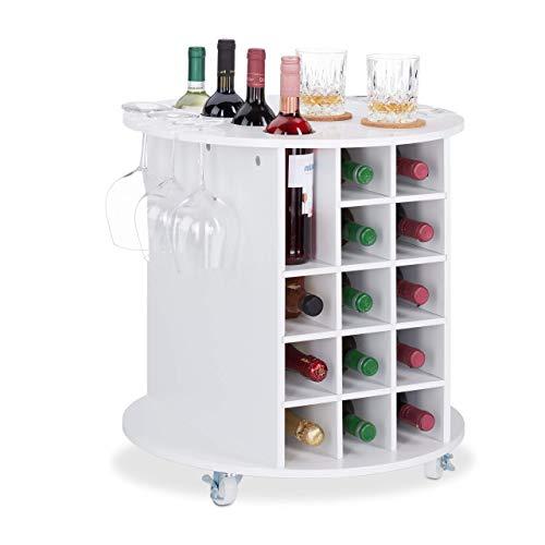 Relaxdays botellero Vino Giratorio para 17 Botellas y 6 Copas, DM-plástico, Blanco, 56x54cm