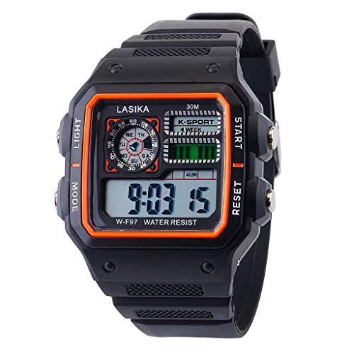 VECOLE Fitness Armband Wasserdicht Stoppuhr Gegenlicht Timing Wecker Display Week Multifunktionale Sport- und Freizeituhr Modische Wilde elektronische Uhr(F)