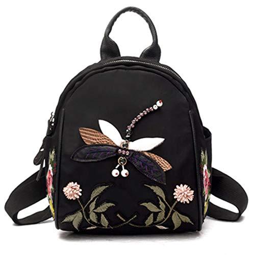Goodtimes28 Mode Rucksack Ethnische Frauen Libelle Blume Perle Tuch Einkaufsrucksack Hand Umh?ngetasche