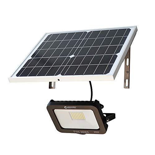 グッドグッズ(GOODGOODS) 分離型 LED ソーラーライト 30W 屋外 防水 投光器 夜自動点灯 角度調節可能 庭園灯 玄関 廊下 駐車場 TYH-30WA