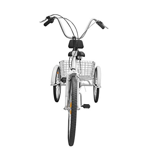 Learn More About 7-Speed 24 Adult 3-Wheel Tricycle Cruise Bike Bicycle with Basket White CHENDGE2