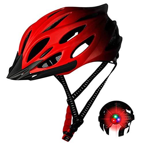 TTFGG Unsex El Casco Bicicleta,Luz Bici Casco, Casco Protector De Seguridad, Ajustable...