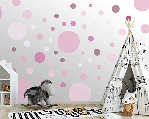 100 wandtattoo Punkte wandsticker Kreise fürs Kinderzimmer - Set Farben, Dots zum Kleben Wandaufkleber Wanddeko - Wandfolie, Kleinkinder, Erstausstattung auf Rauhfaser Lila - Flieder - Rosa - Pink