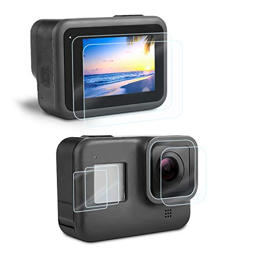 Displayschutz Schutzfolie für GoPro Hero 8 Black, iTrunk Ultra-frei Hartglas Displayschutz+Hartglas Objektivschutzfolie+HD Kleinem Display Schutz Zubehör für Hero 8 Black Action Kamera[6 Stück]