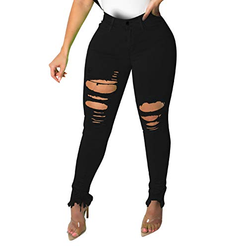 IyMoo Women's Boyfriend Jeans Distressed Slim Fit Ripped Jeans Comfy Stretch Skinny Jeans Black L