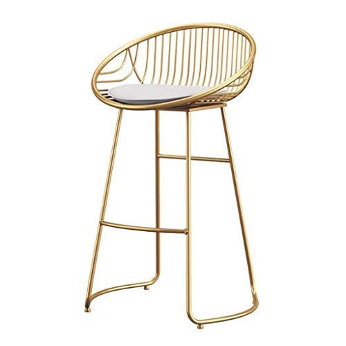 Sywlwxkq Barhocker Frühstückstheke Stühle Kneipentheke Schmiedeeiserne Barstühle Sitz, Nordic Simple Freizeit Gold Frühstückstisch Hochhocker für Café Balkon Küche...