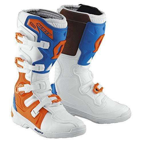 Scott 350 MX Motocross Supermoto Motorrad Stiefel weiß/blau 2019: Größe: 39