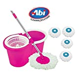 ABI CLEANING SOLUTIONS Mop Floor Cleaner with Bucket Set Offer with Big Wheels for Best 360 Degree Easy Magic Cleaning, Pink with 4 Microfiber