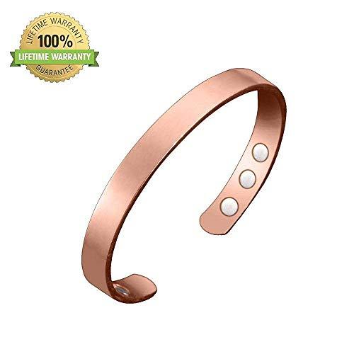 BD.Y Pure Copper Rose Gold Arthritis Bracelet with Extra Strong Magnets for Carpal Tunnel Menopause - Unisex Copper Bracelet Elegant Titanium Magnetic Therapy Bracelet Pain Relief for Arthritis