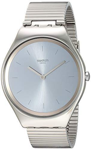 Swatch Unisex Erwachsene Analog Quarz Uhr mit Edelstahl Armband SYXS103GG